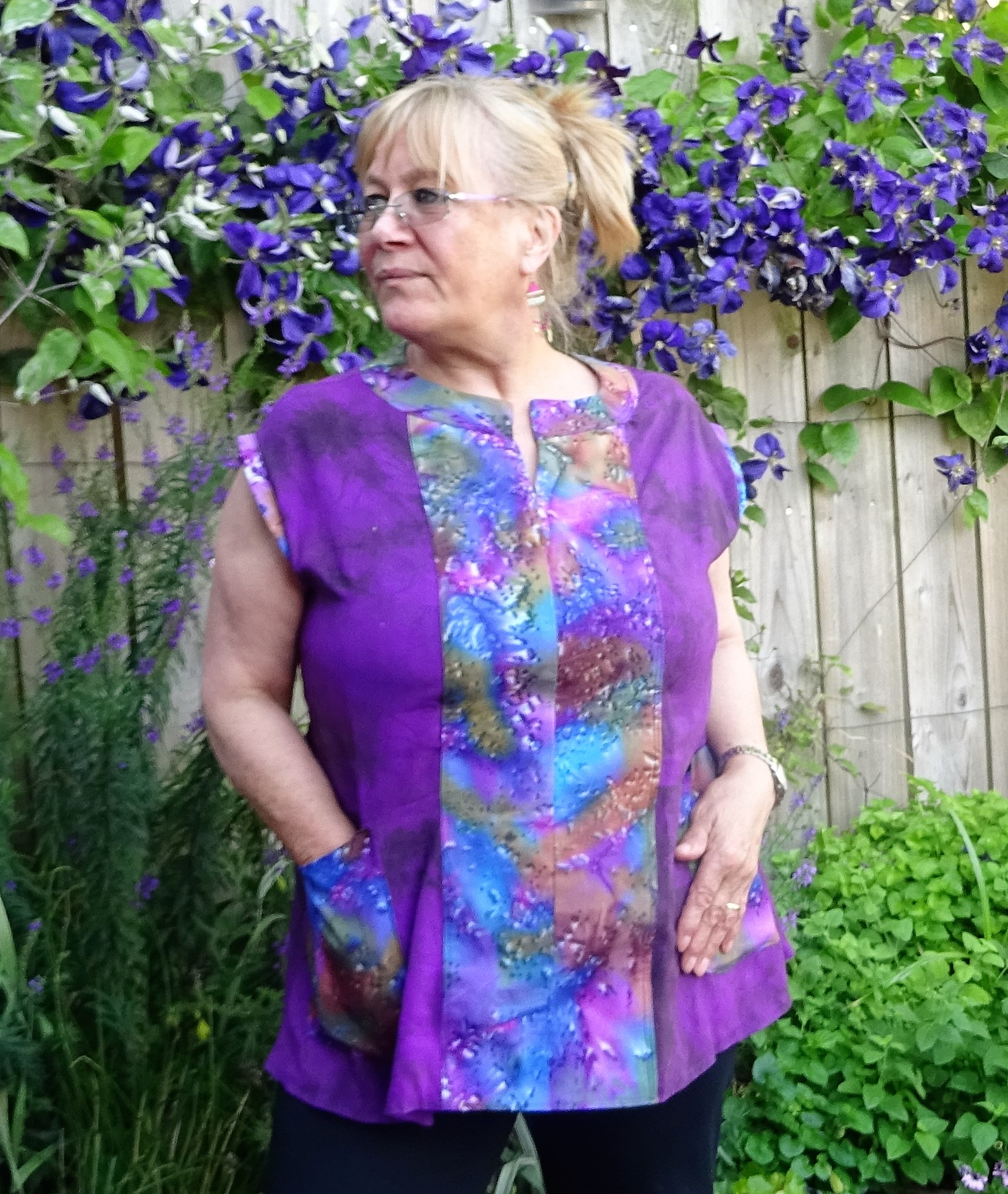 purple dyed top with centre panel